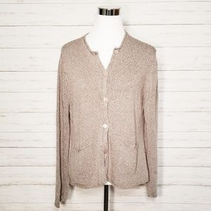 Eileen Fisher Silk Blend Knit Cardigan Gray XL
